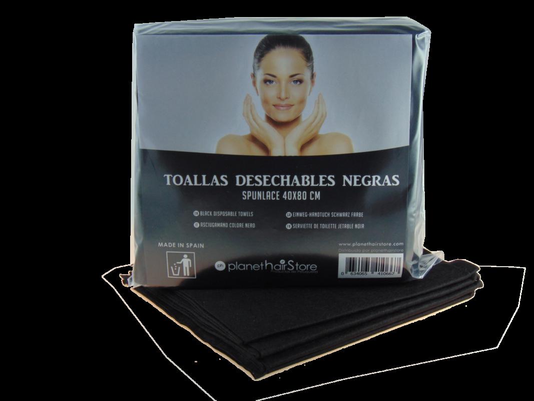 Toalla Desechable Spunlace 40x80 Negras PlanetHair Store®