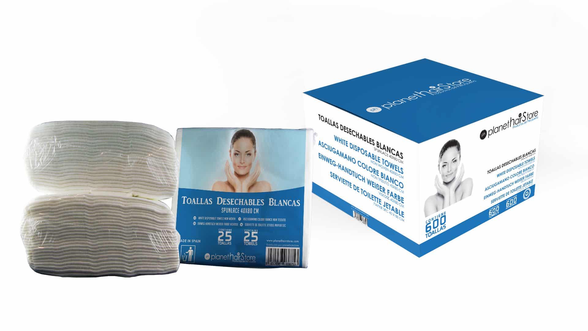 Toalla Desechable Spunlace 40x80 Blancas PlanetHair Store®