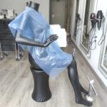 capa de tinte desechable de peluquería azul