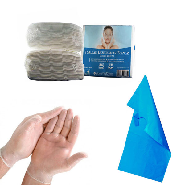 pack toalla spunlace, capa de tinte y guantes de vinilo
